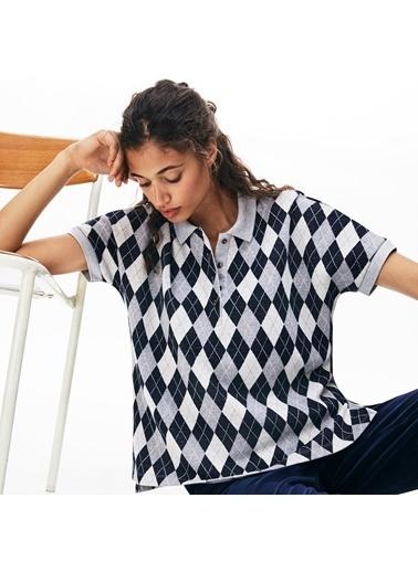 Lacoste Kadın Ekose Desenli Tişört DF8657.44Q Lacivert